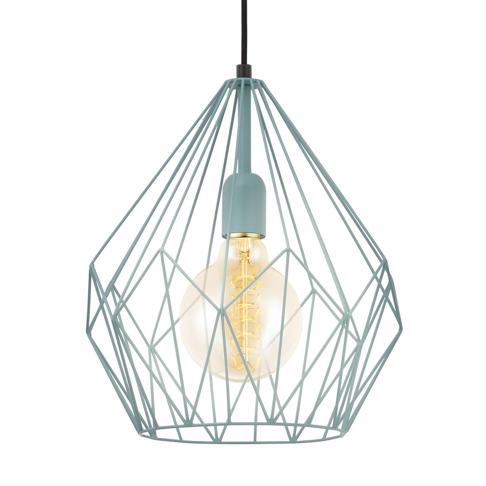 Mintkleurige hanglamp Carlton in vintage look