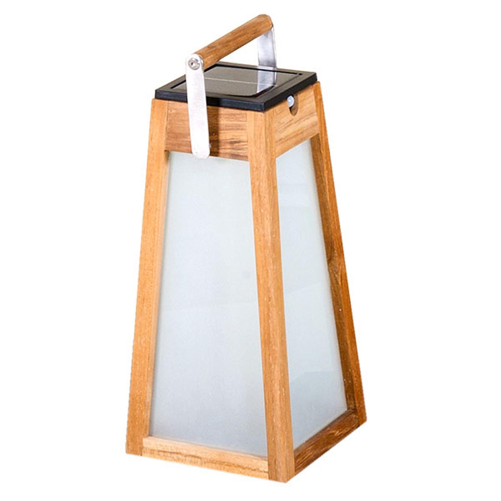 LED solární lucerna Tecka, senzor, teak, 38,8 cm