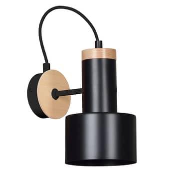 Foco de pared Foxtrot K1, elementos madera, negro