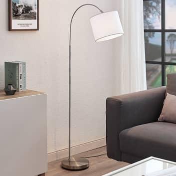 Łukowa lampa podłogowa Mateji, biały klosz
