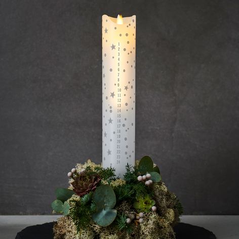 Candela LED Sara Calendar, bianco /romantic, 29 cm