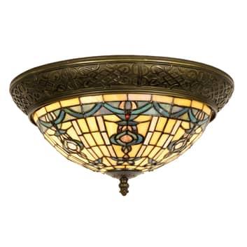Kimberly rund loftlampe i Tiffany-stil 38 cm