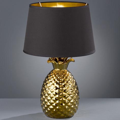 Gold-schwarze Textil-Tischlampe Pineapple, 45 cm