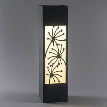 LED-solcellslampa Säule, betongoptik, blommotiv