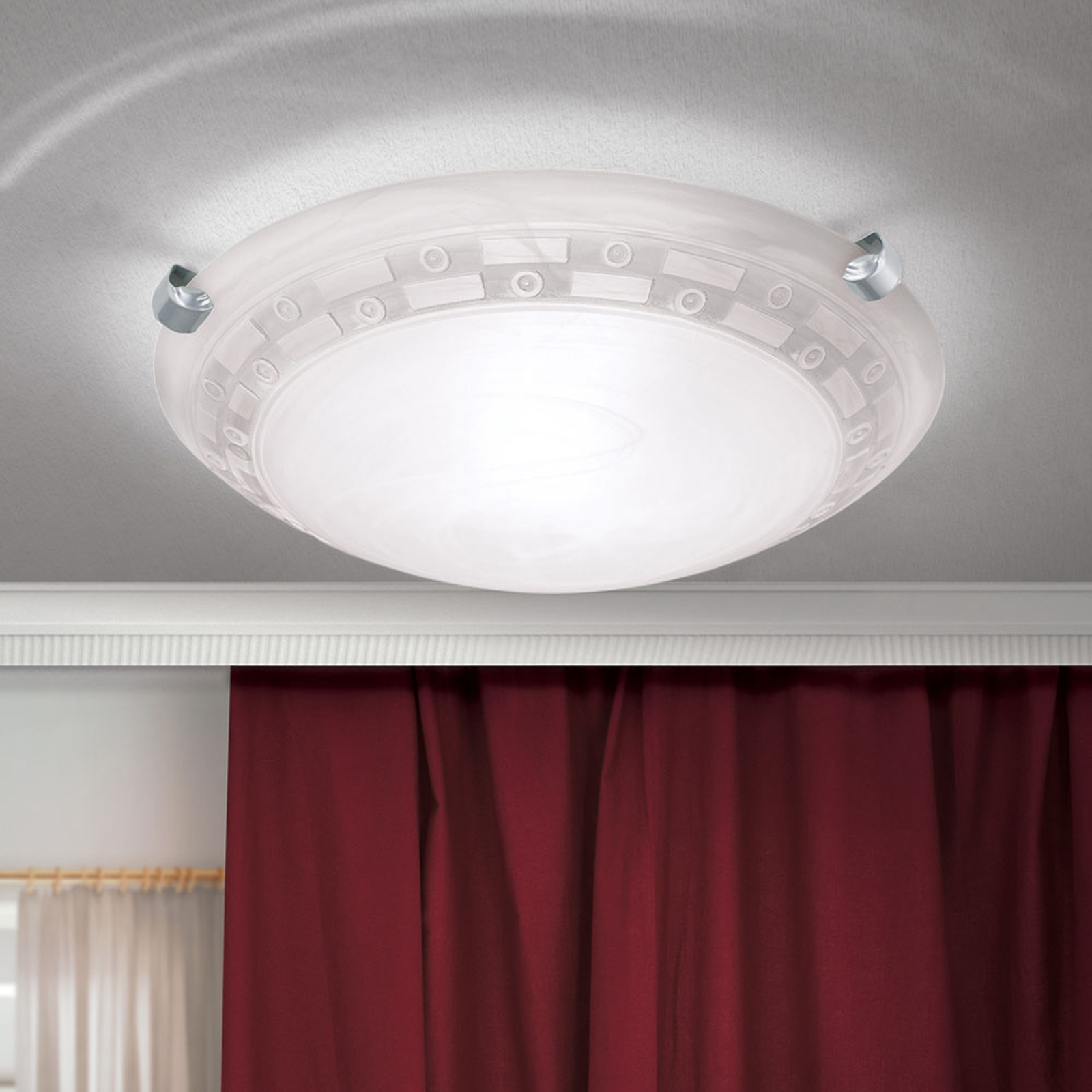 Plafondlamp Adonis, Ø 30 cm, wit/nikkel