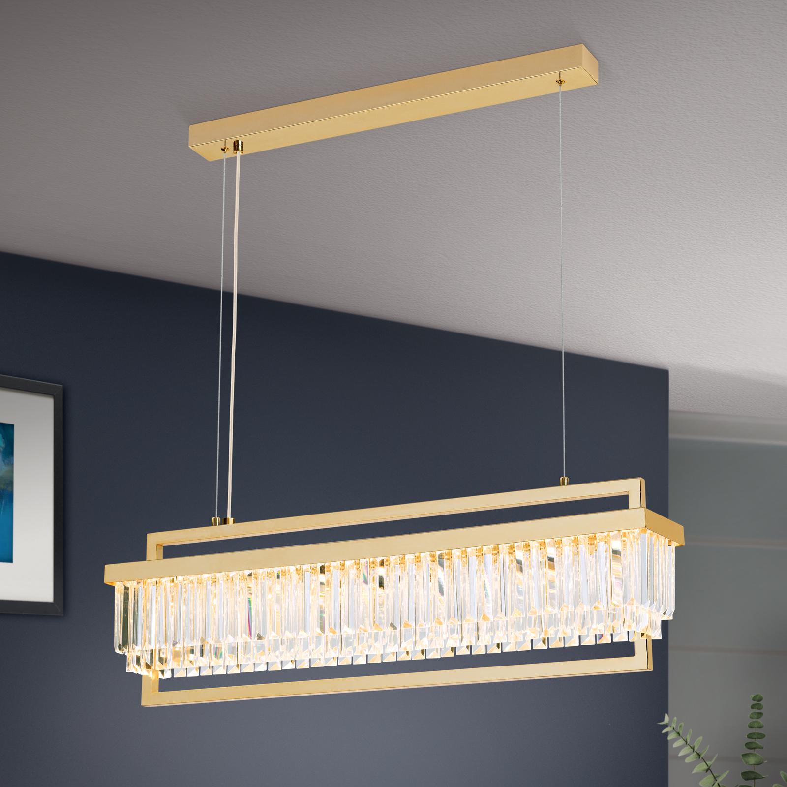 Lampa wisząca LED Prism, podłużna, złota