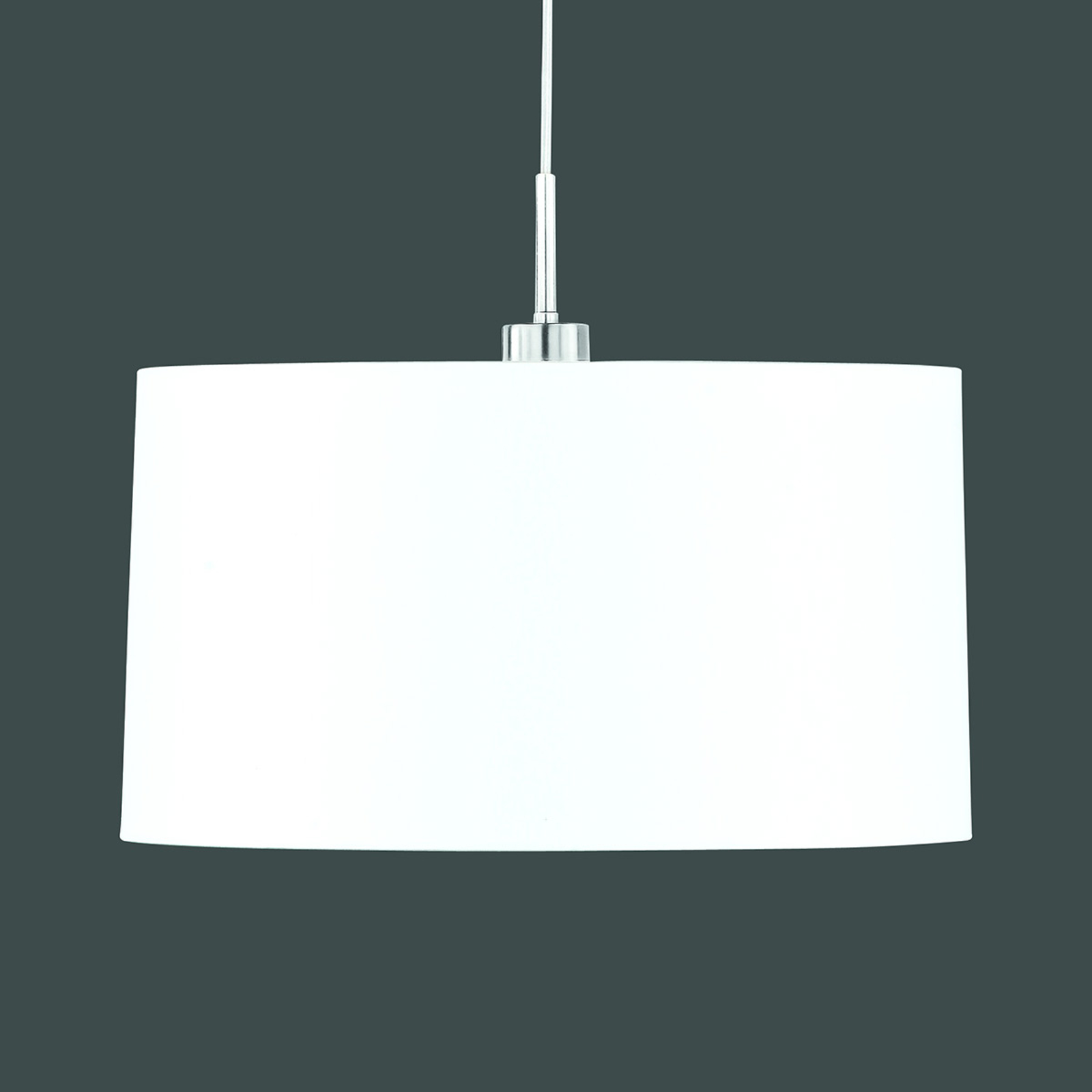 Lampa wisząca z białym abażurem z tkaniny chintz
