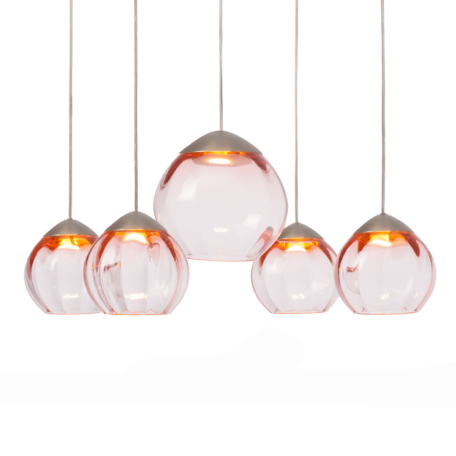 Suspension LED Soft ronde 5 lampes, abat-jour rose