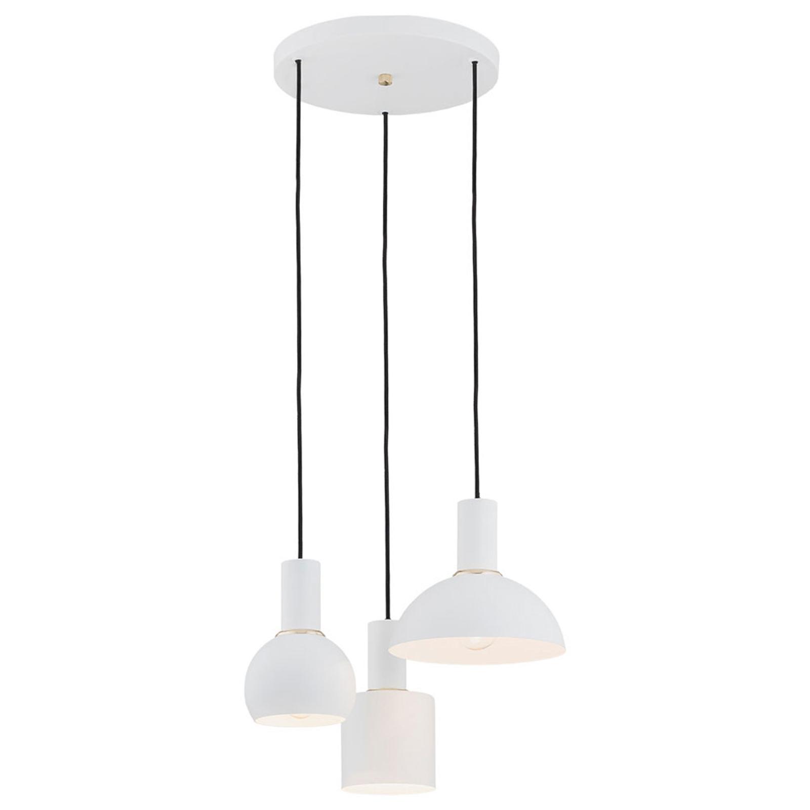 Lampa wisząca Selma, 3-punktowa, biała