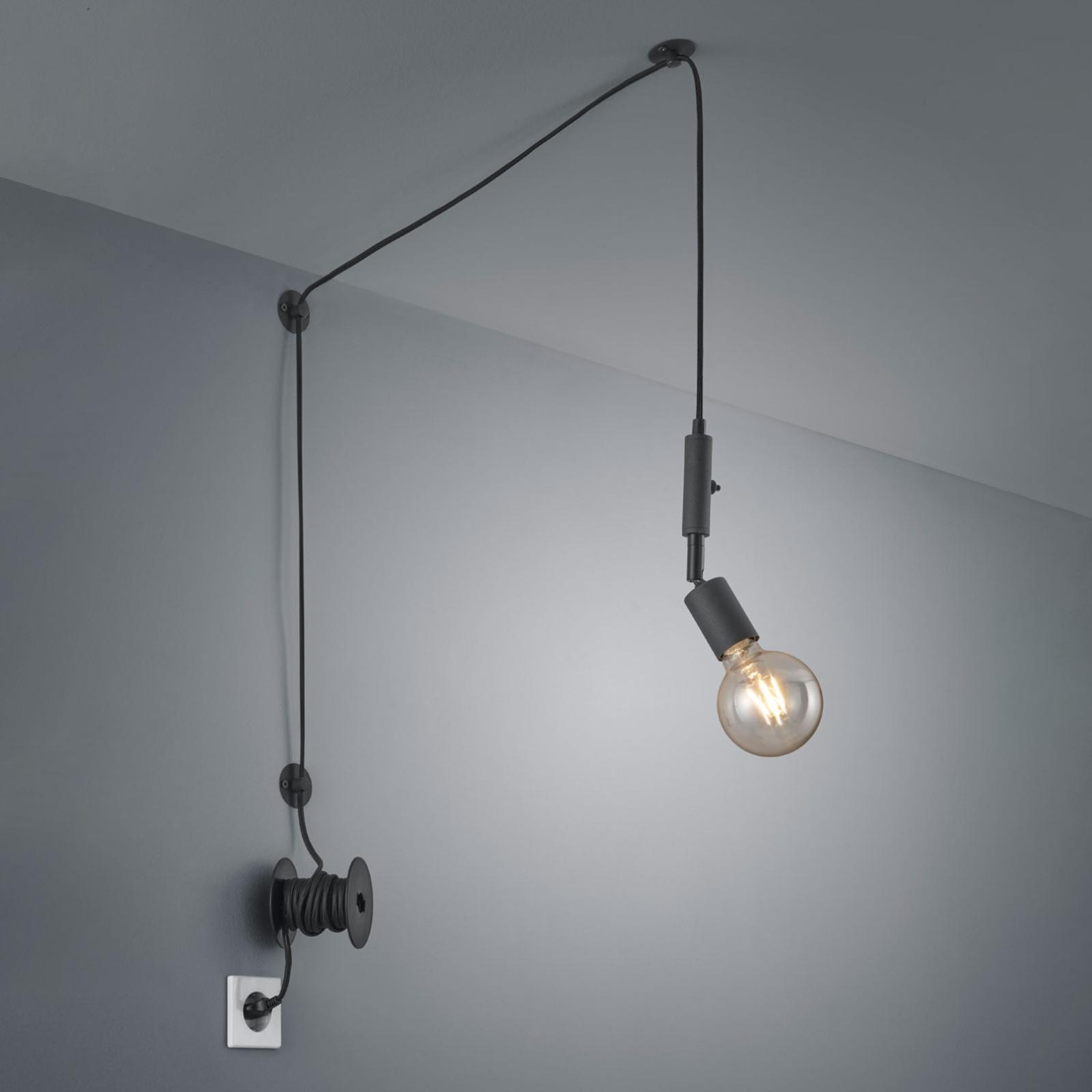 Hanglamp Stella decentraal met stekker zwart