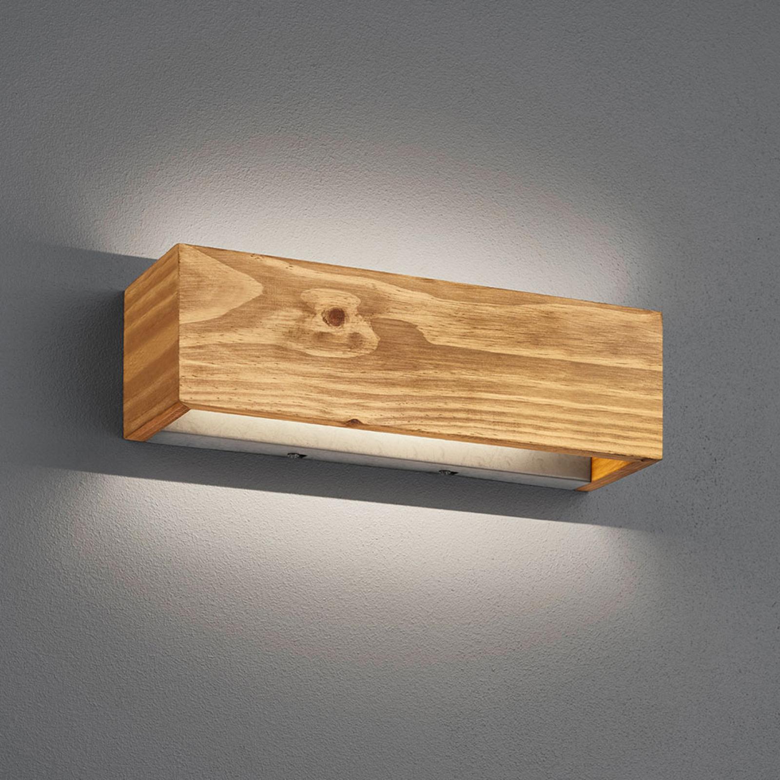 Kinkiet LED Brad z drewna, up/down, 37x11 cm