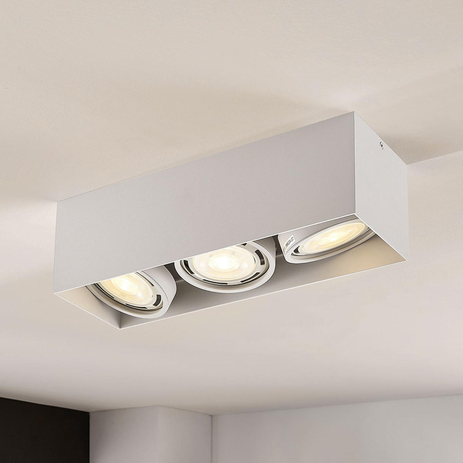 LED-Downlight Rosalie, dimmbar, eckig, 3-fl. weiß