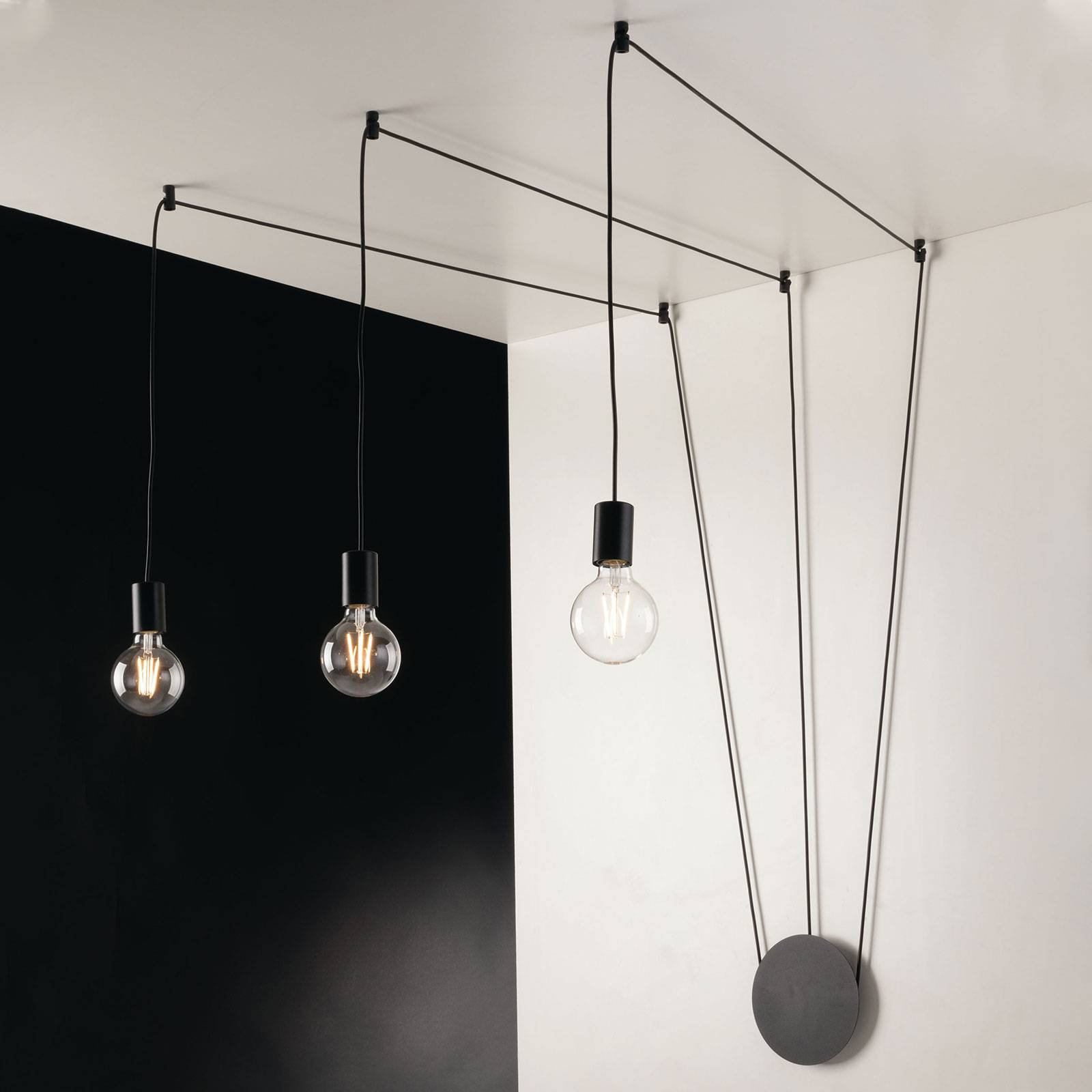 Hanglamp Habitat decentraal, 3-lamps, zwart