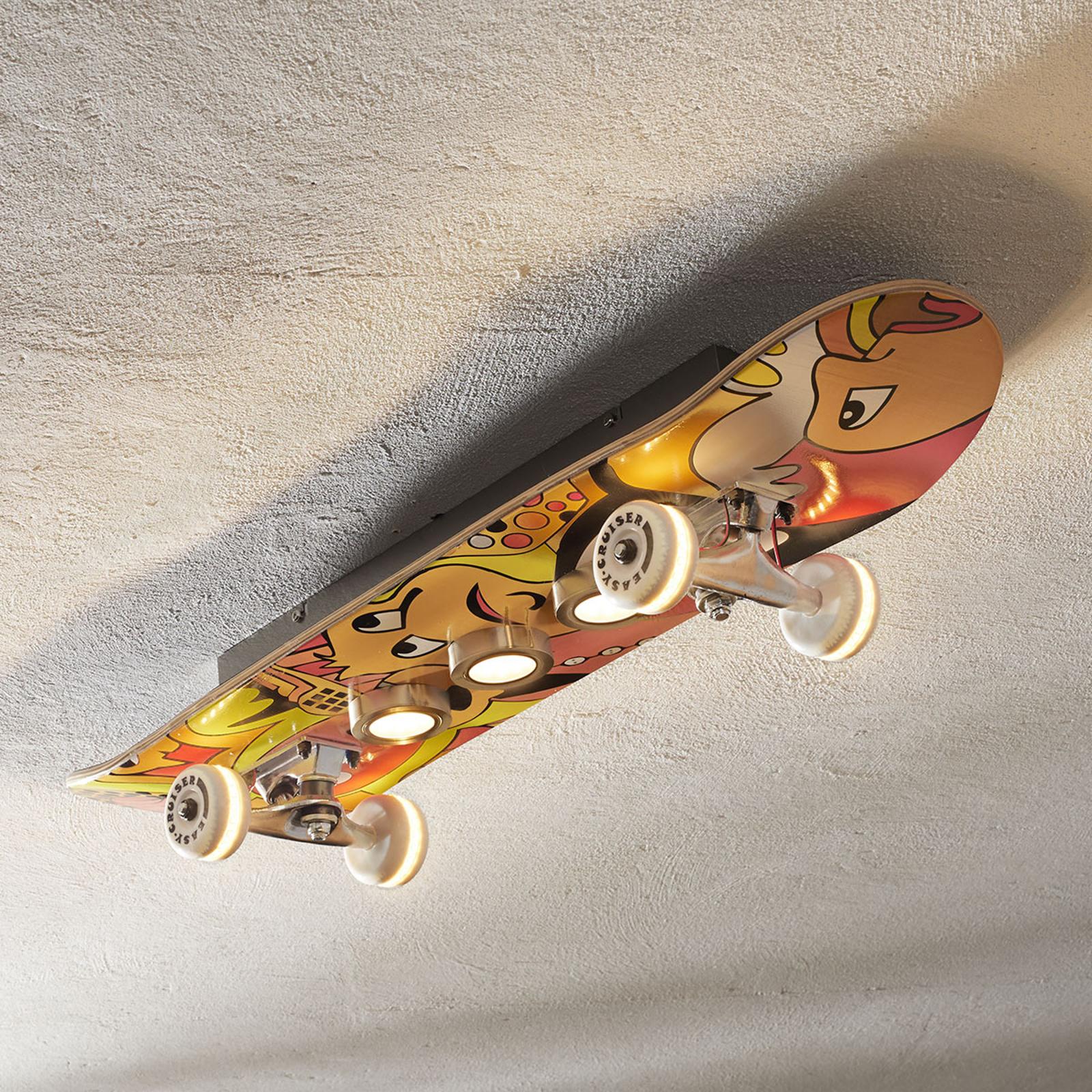 Loftlampe LED Easy Cruiser i skateboard look