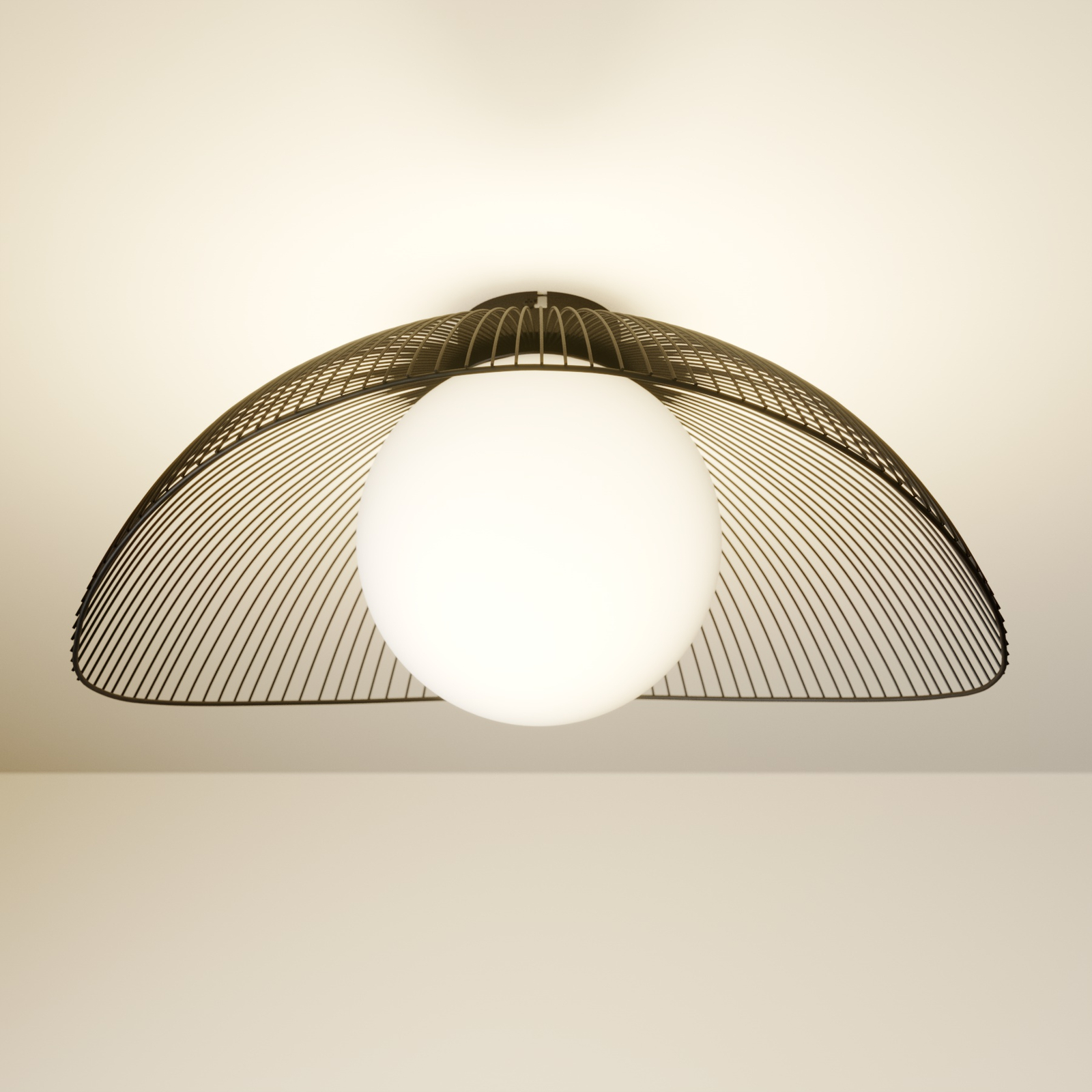 Lindby Fabronia taklampe, gitter, glasskule