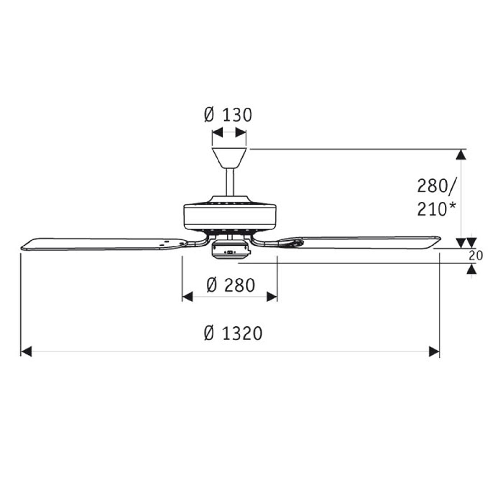 Deckenventilator Classic Royal 132 chrom/Buche
