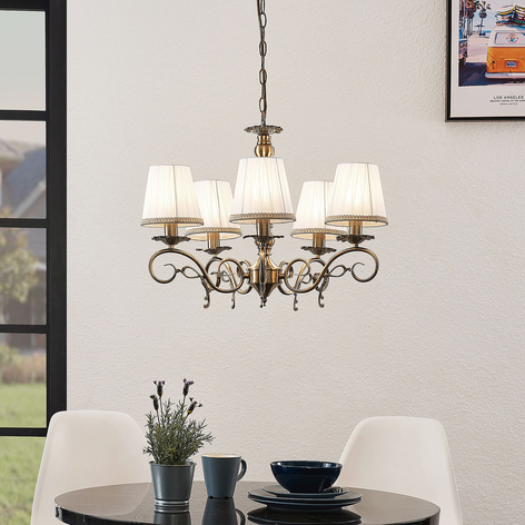 Lindby Finnick kroonluchter, 5-lamps, messing