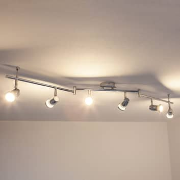 Plafoniera LED Arminius cromata a 6 luci