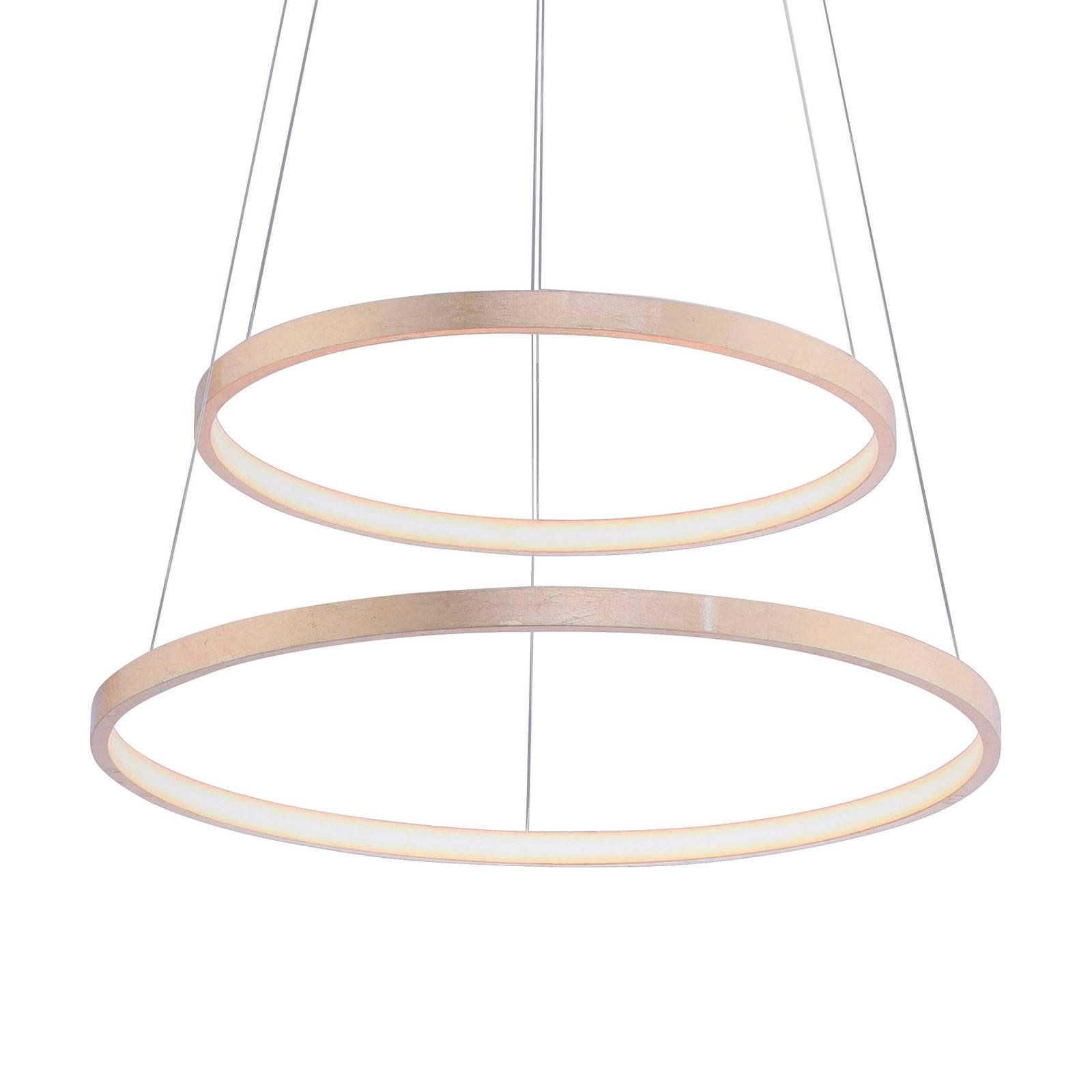Lampa wisząca LED Circle złota, 2-punktowa