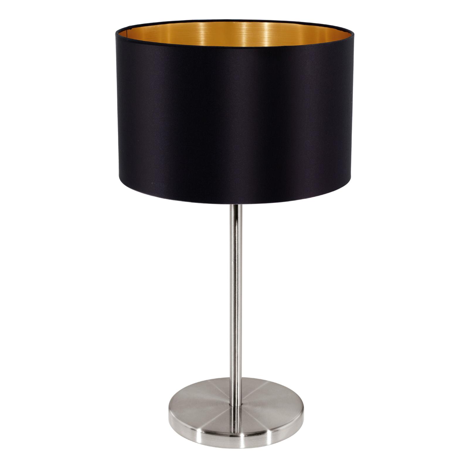 Textilní stolní lampa Lecio, černá