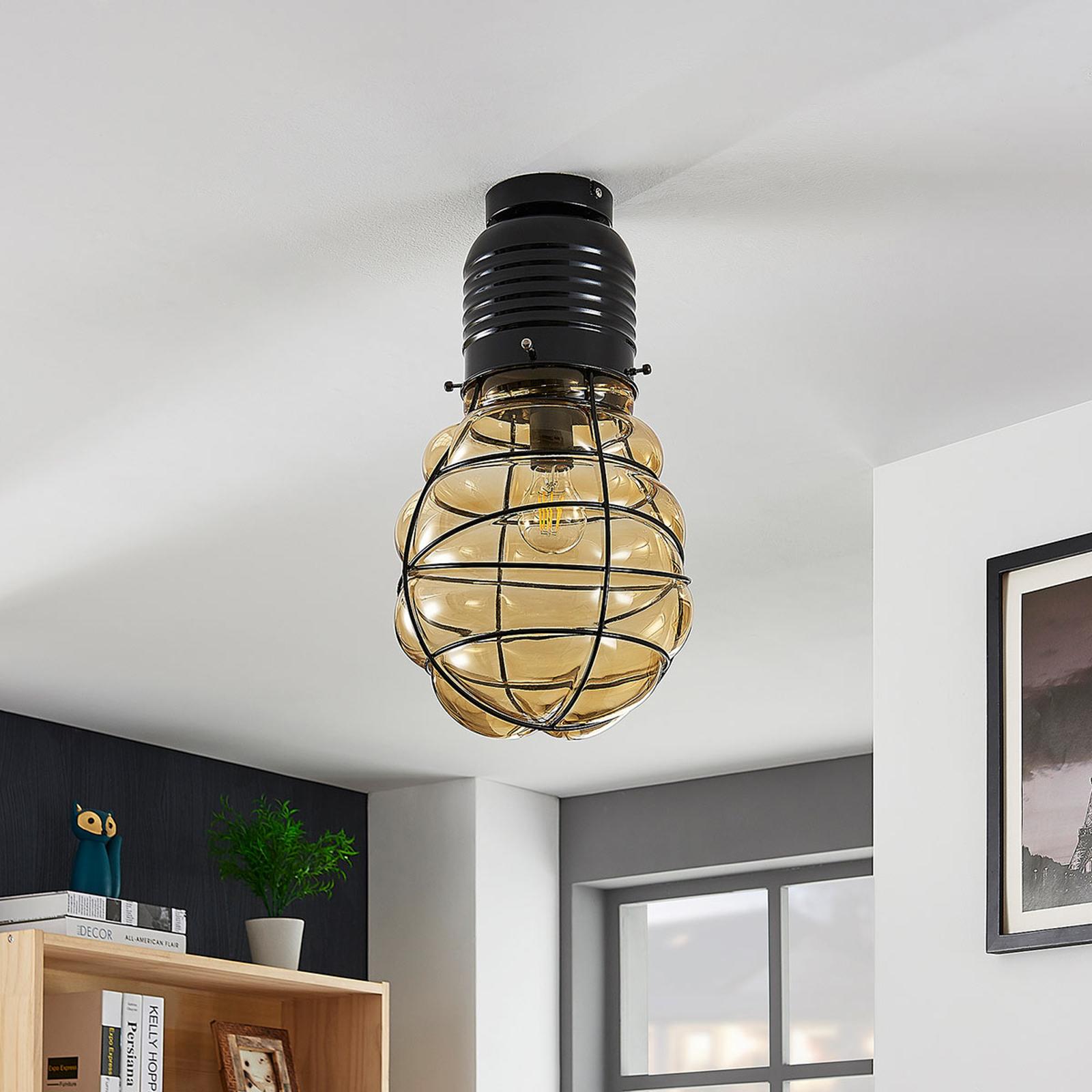 Lampa sufitowa Maluka z bursztynowego szkła