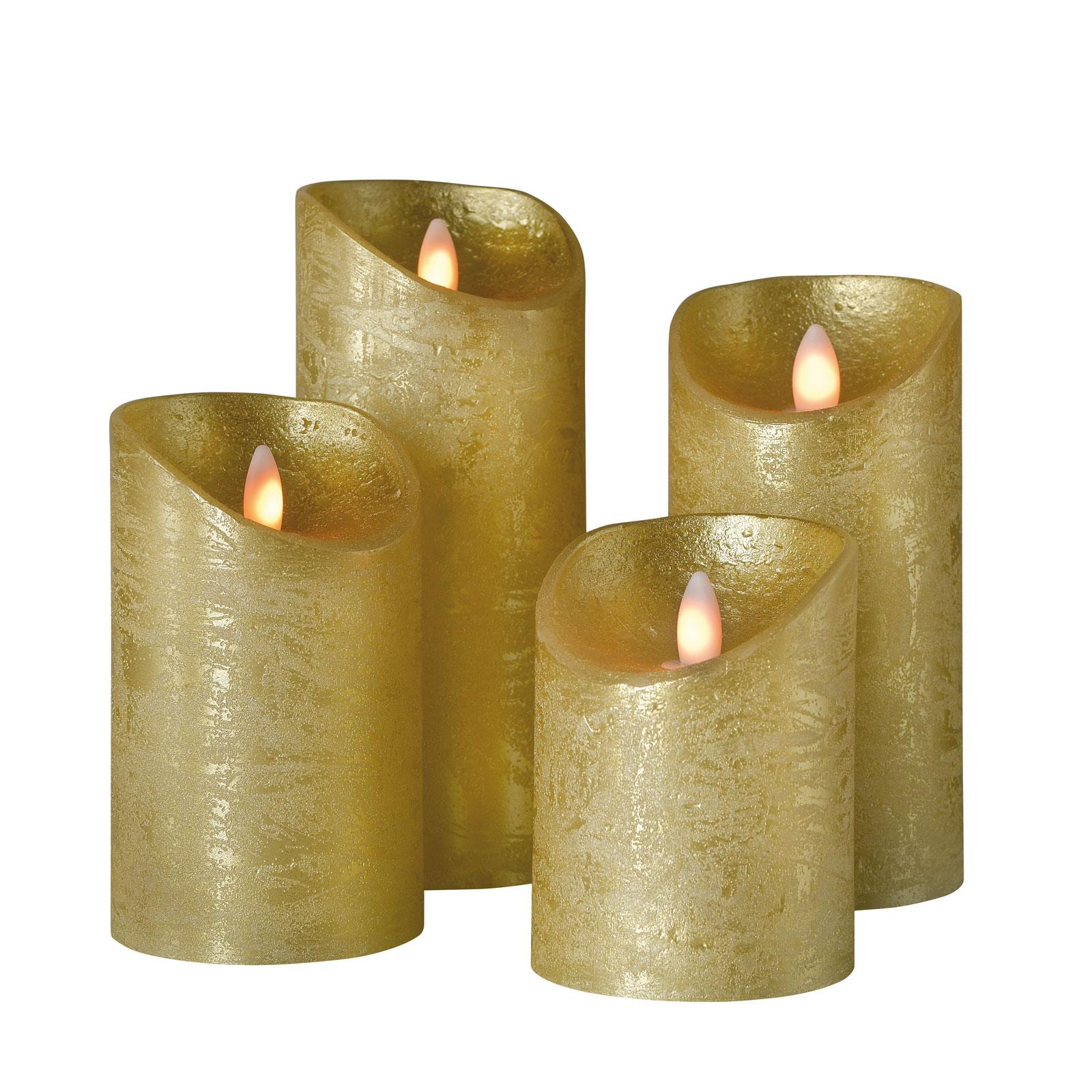 Stumpenkerze Shine LED, 4er-Set, Ø 7,5 cm, gold