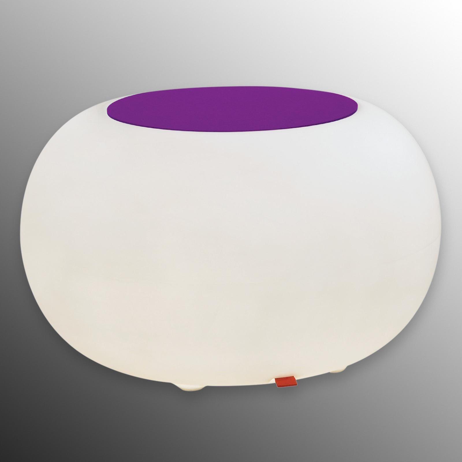 Table BUBBLE, Lumière blanche + feutrine violette