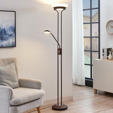 Lampadaire indirect LED Dimitra liseuse, rouille