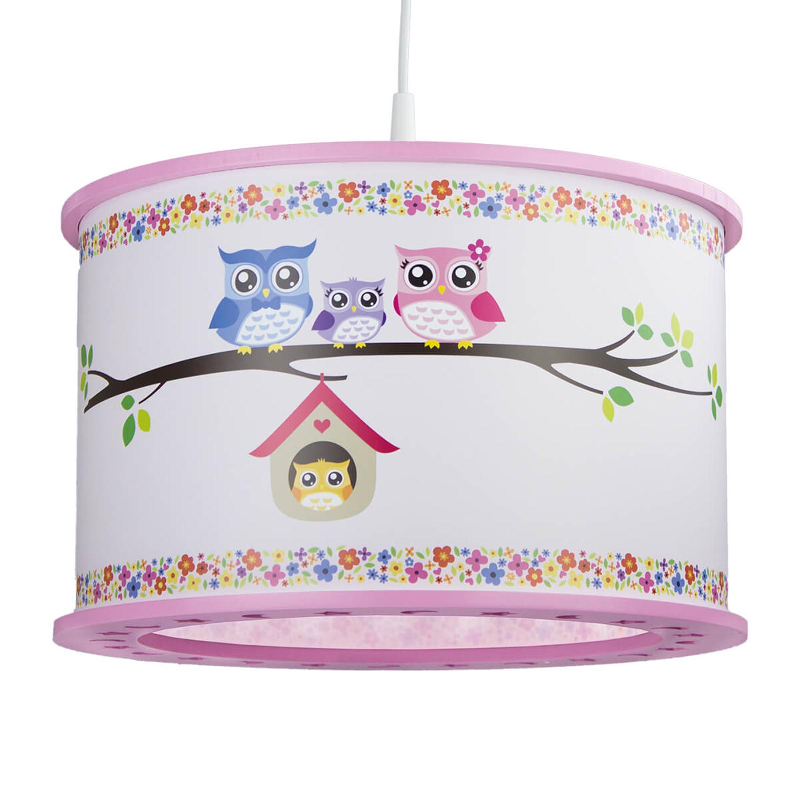 Rozekleurige hanglamp Uil