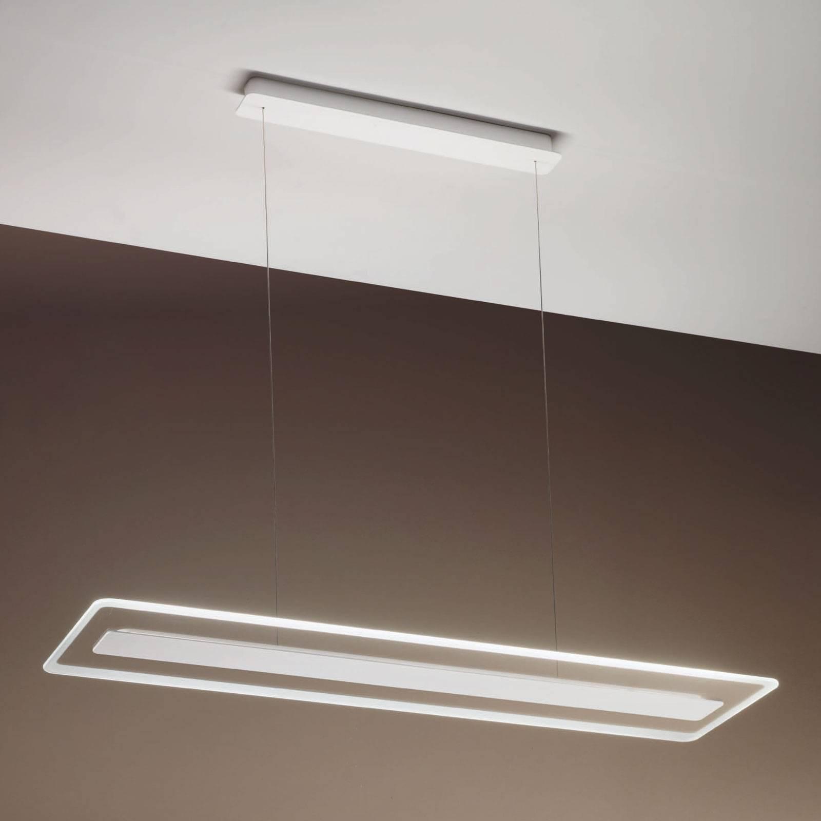 LED hanglamp Antille, glas, rechthoekig, chroom