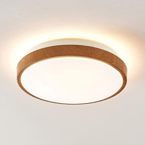 Lindby Mendosa plafoniera LED, look legno, rotonda