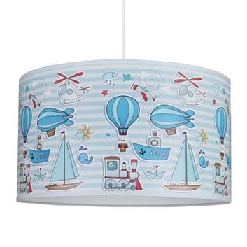 Lampada sospensione Columb, blu con disegni