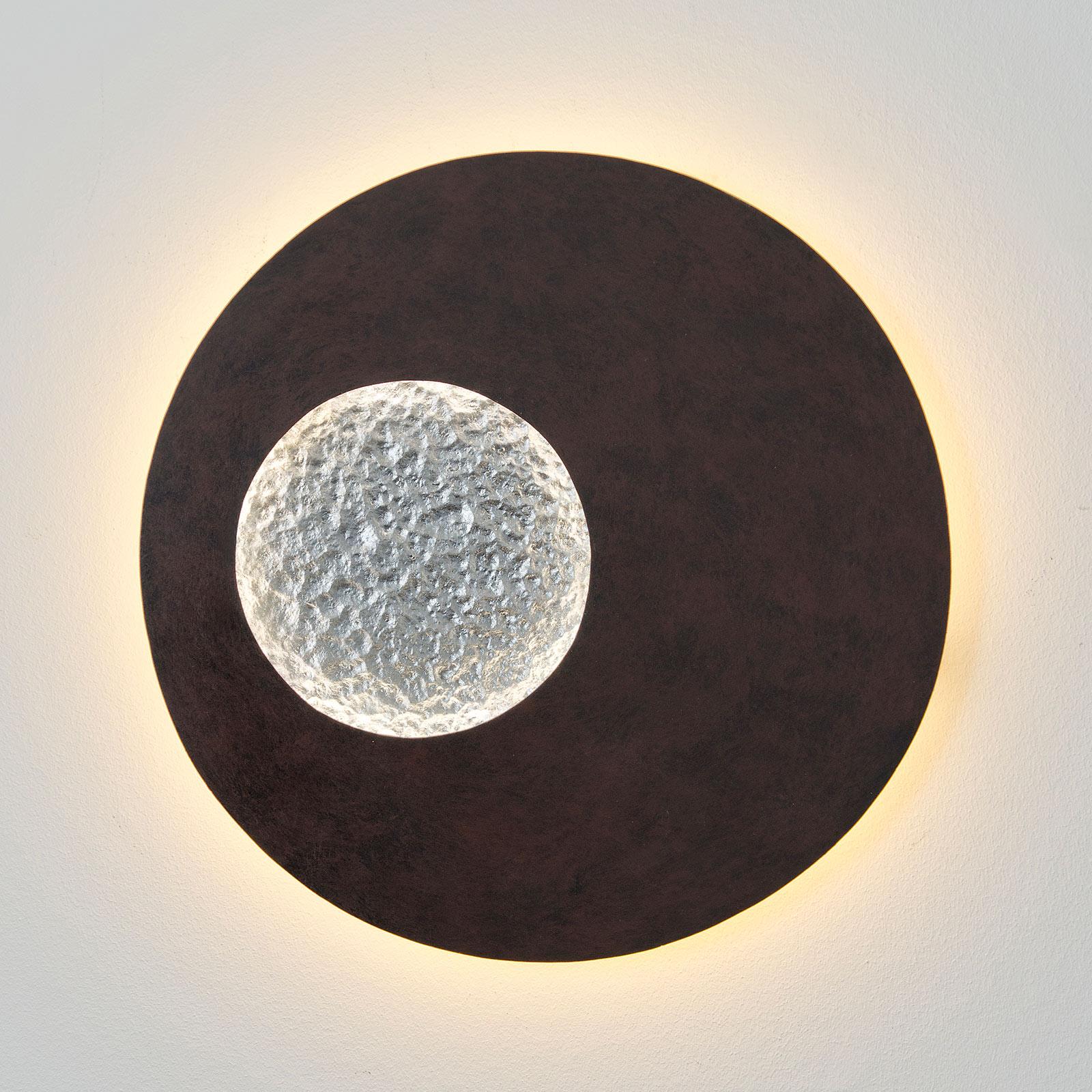 LED-Wandleuchte Luina, Ø 40 cm, innen silber