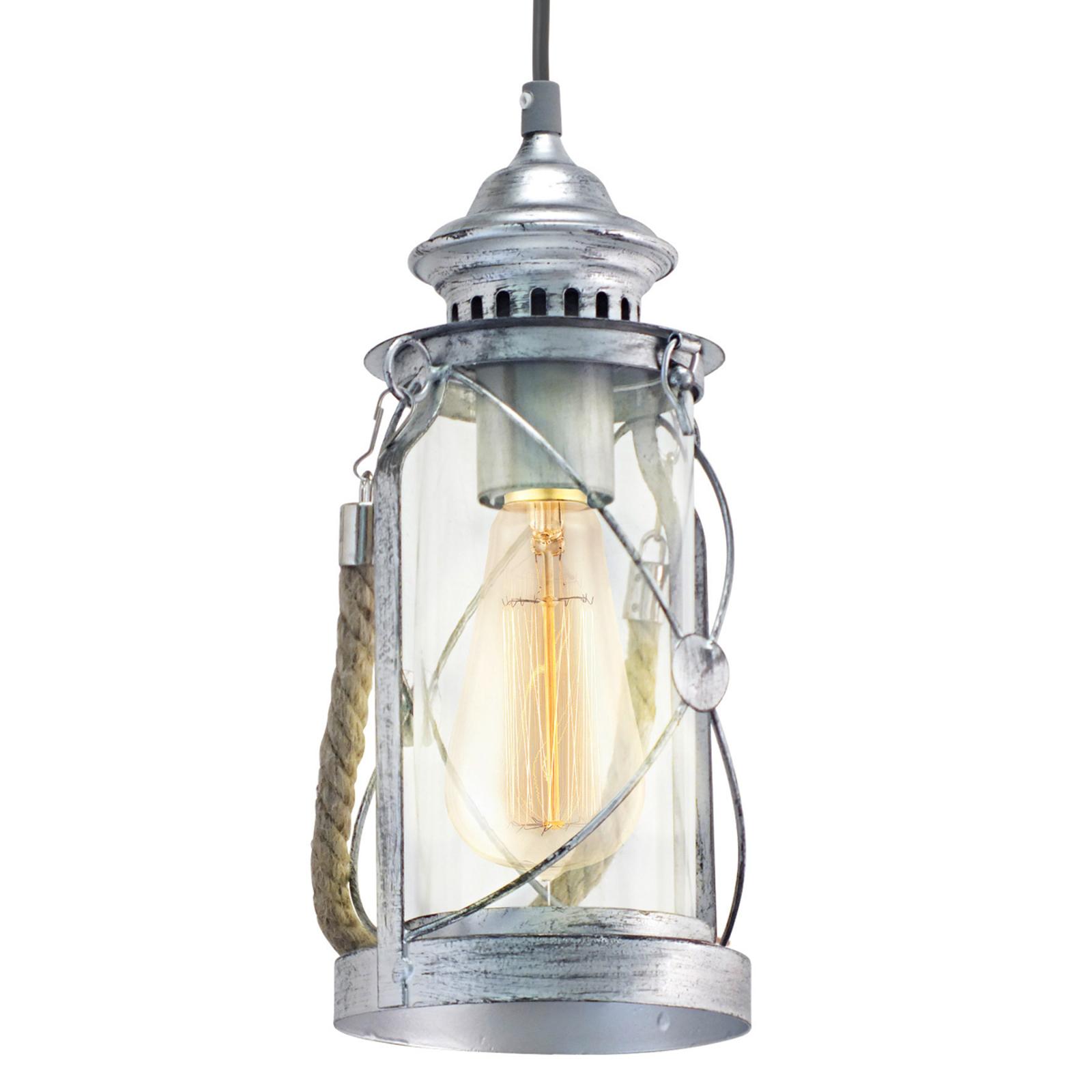 Antikt designet pendellampe Fedor, sølv