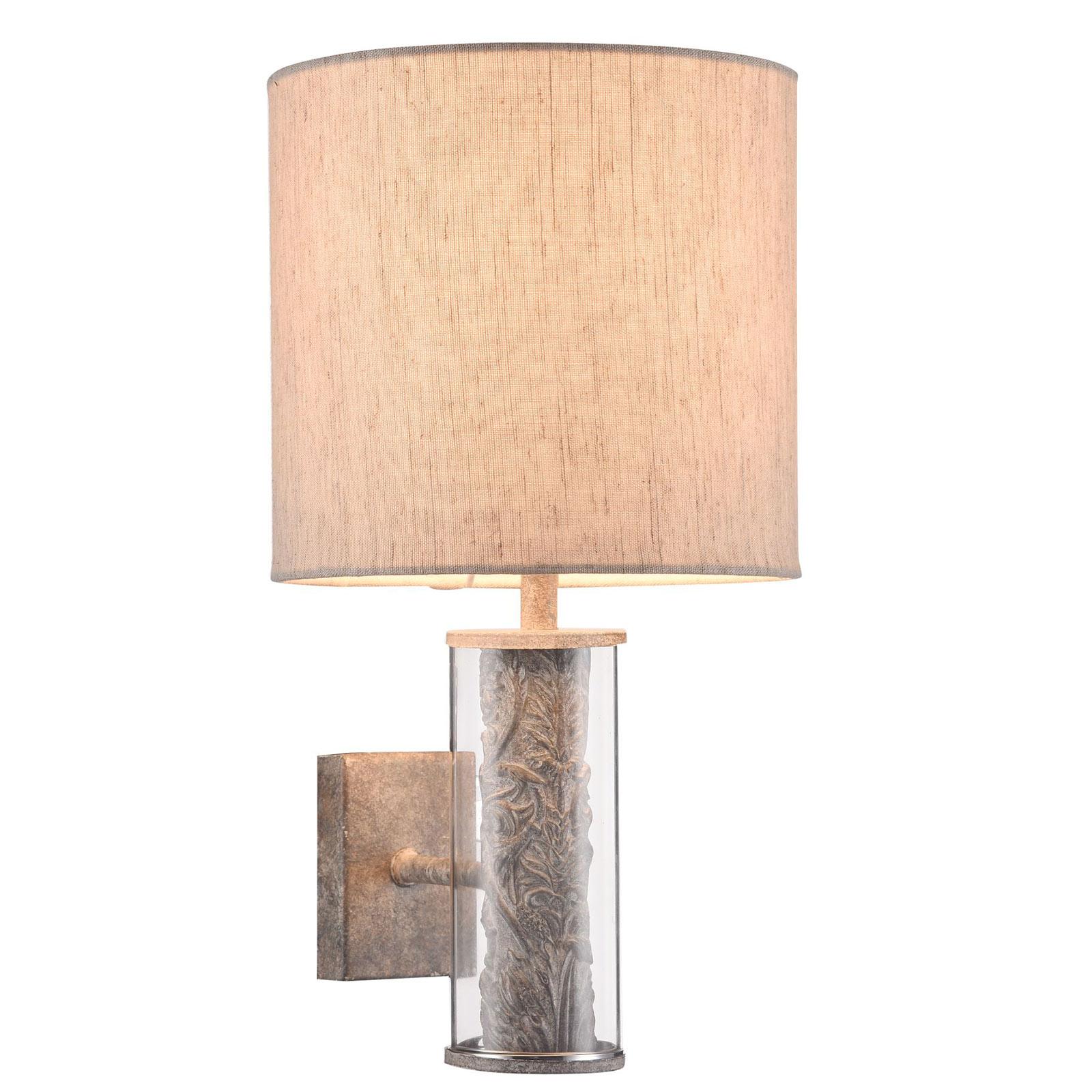 Wandlamp Maryland met stoffen kap van linnen