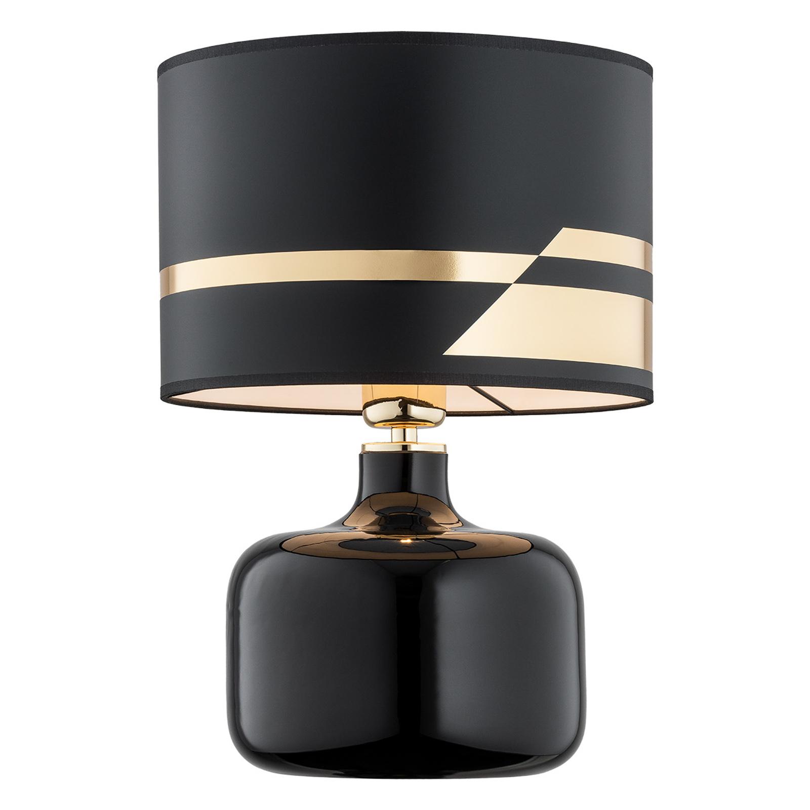 Tekstylna lampa stołowa Bodo, czarno-złota