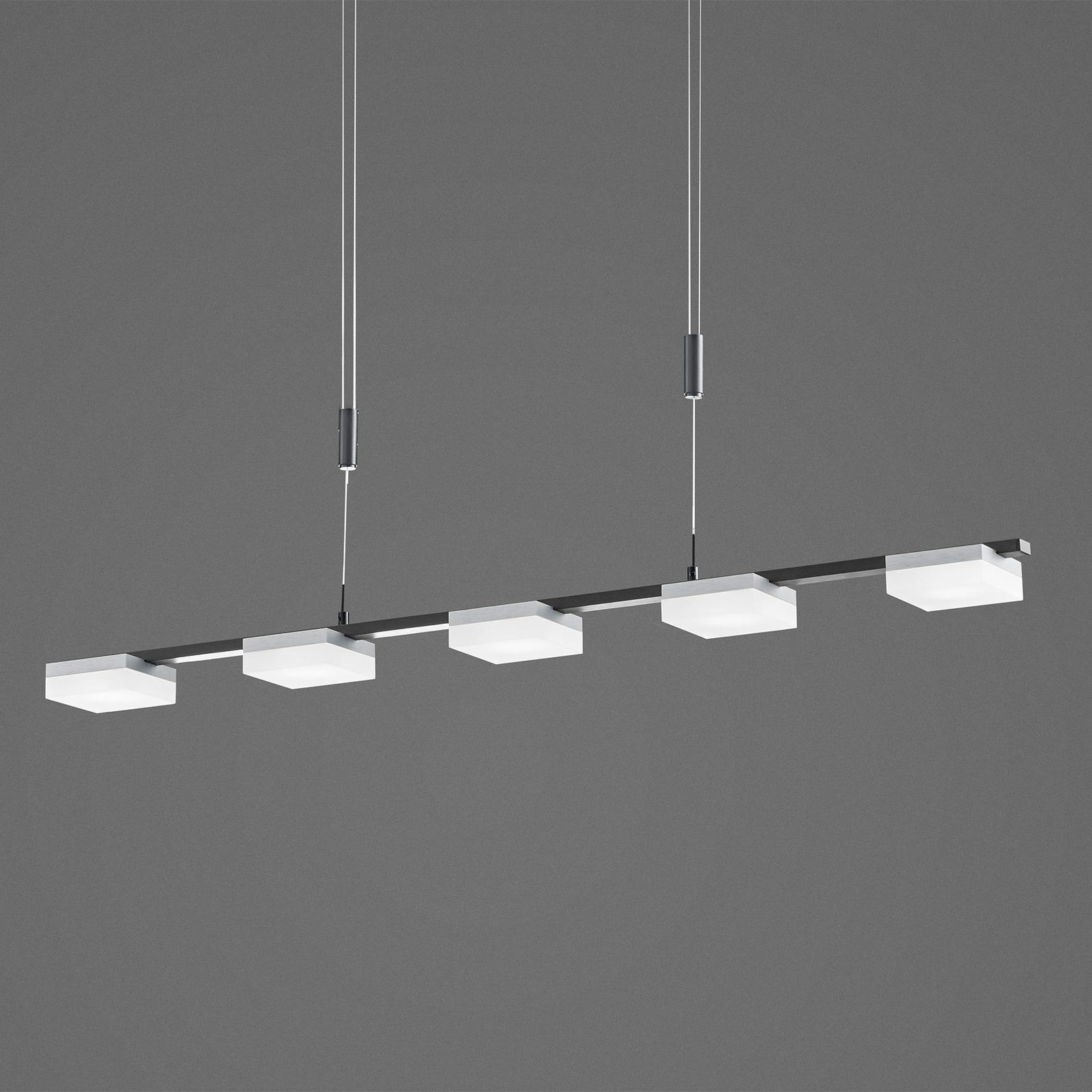 Bopp Quad LED-Hängelampe fünfflammig schwarz/alu