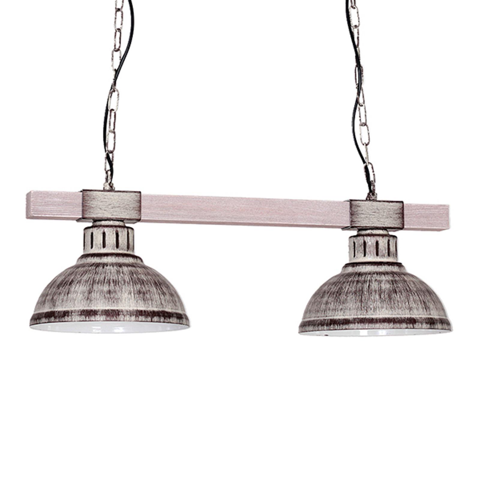 Lampa wisząca Hakon 2-pkt. żelazo/jasne drewno