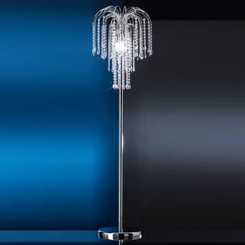 Stojací lampa Pioggia s křišťály, chrom