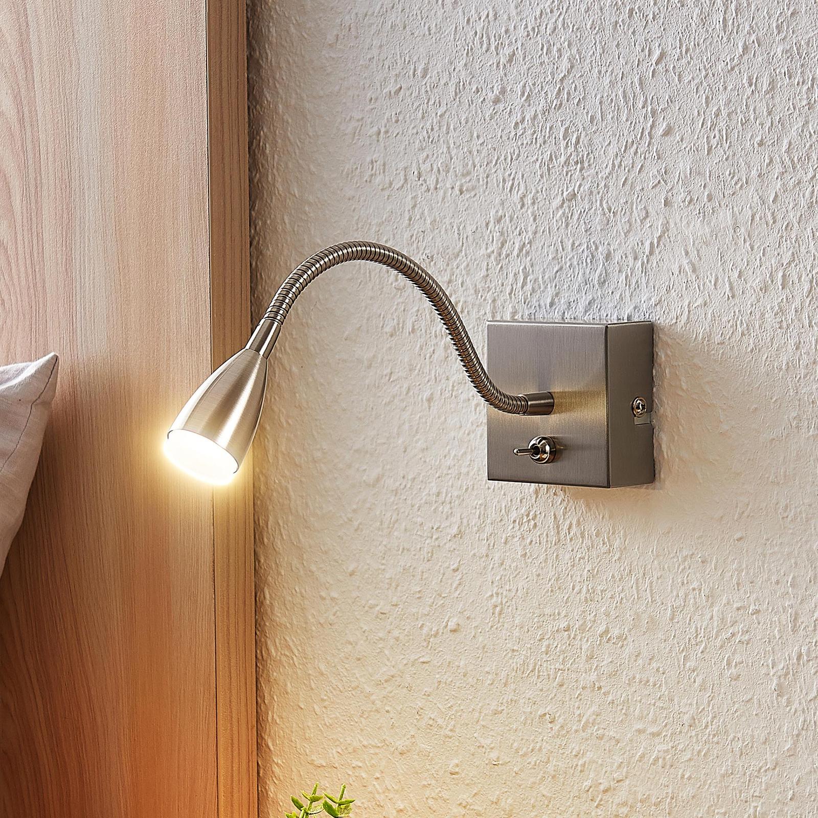 Lindby Jolka LED-leeslamp, nikkel gesatineerd