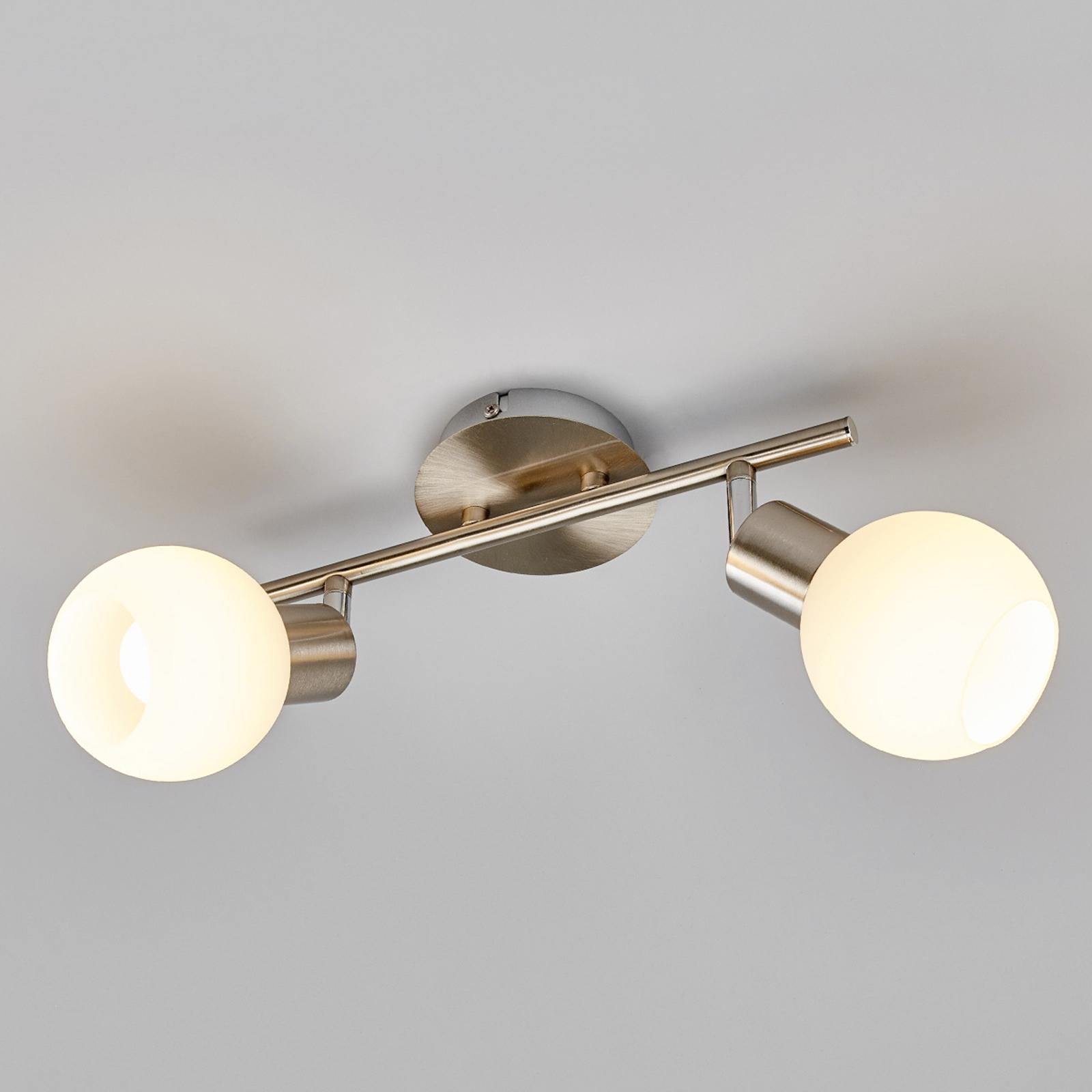 LED-Deckenlampe Elaina 2-flg., nickel matt