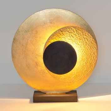 LED-bordlampe La Bocca, høyde 43 cm, gull og brun