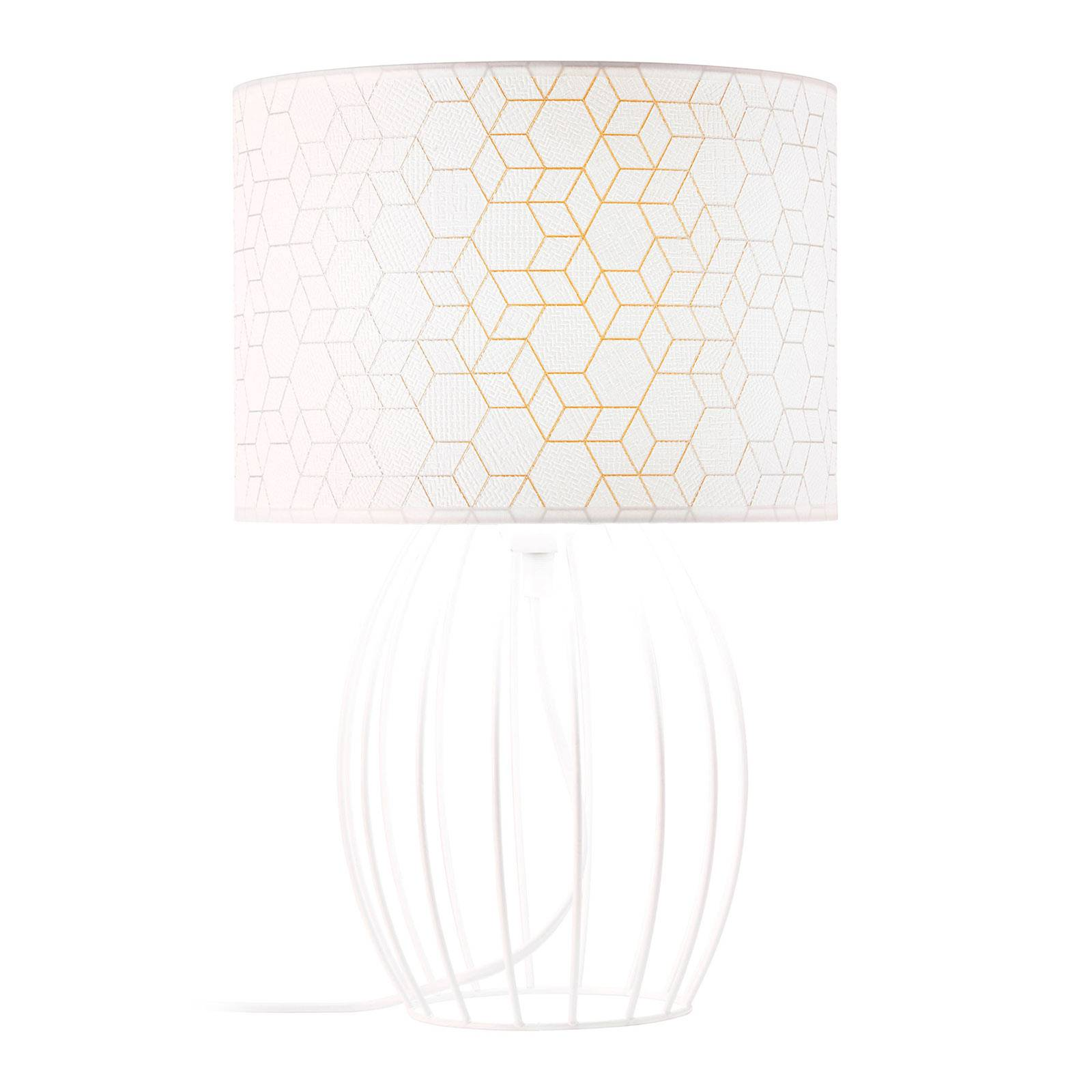 Lampe à poser Galance, blanche avec support cage