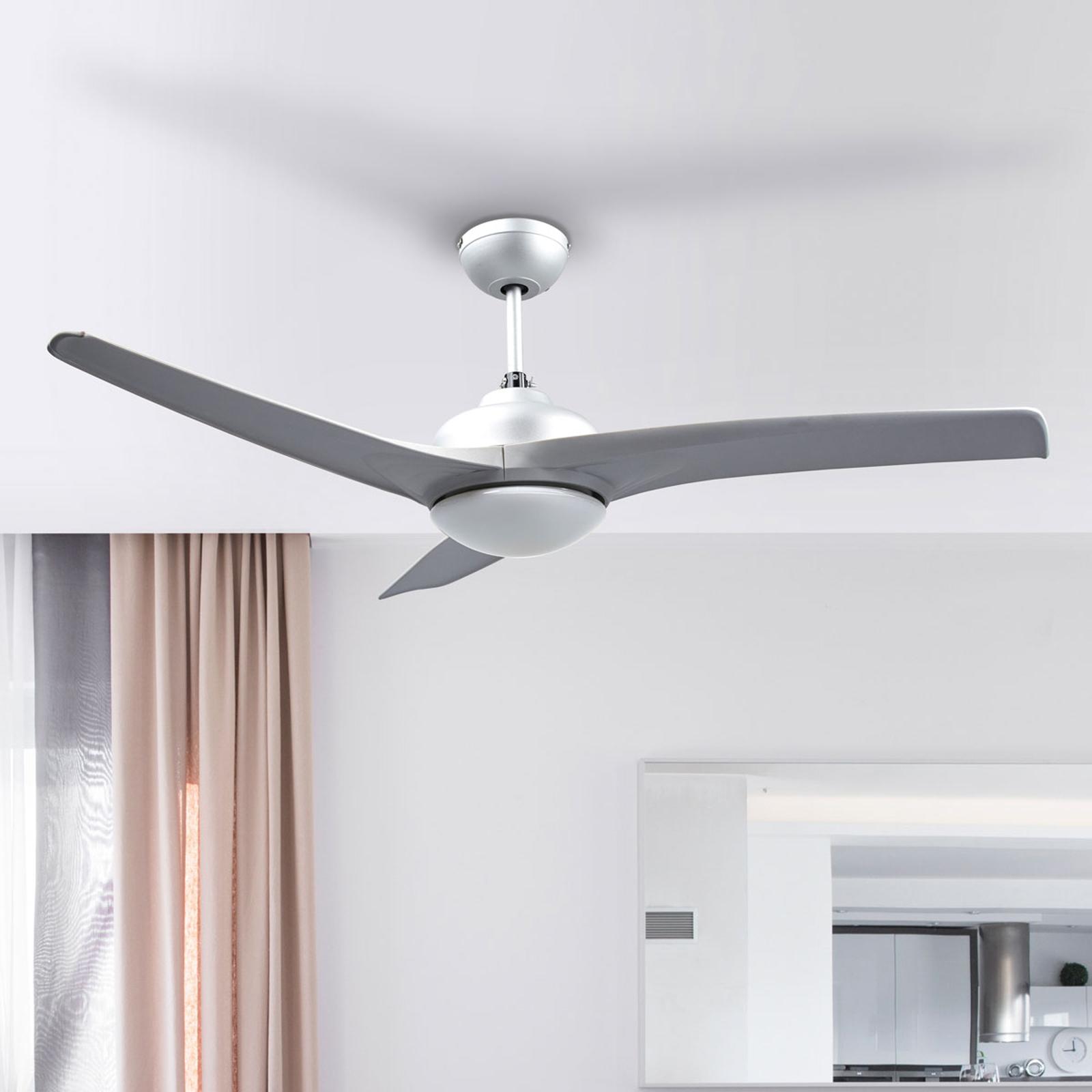 Ventilatore da soffitto argentato Emanuel con luce