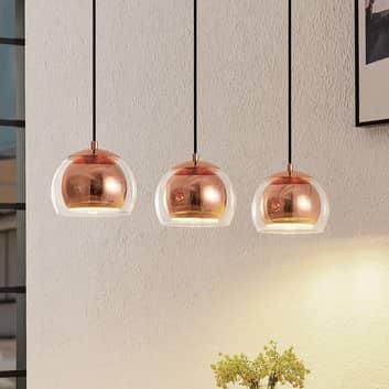 Lindby Daymien lámpara colgante, 3 luces, cobre