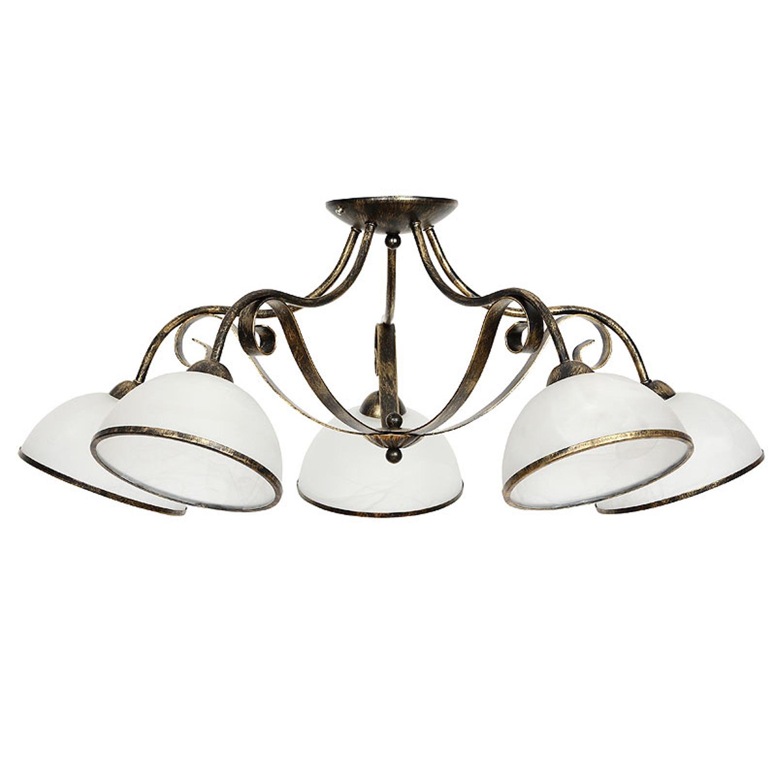 Taklampa Antica i lanthusstil, 5 lampor