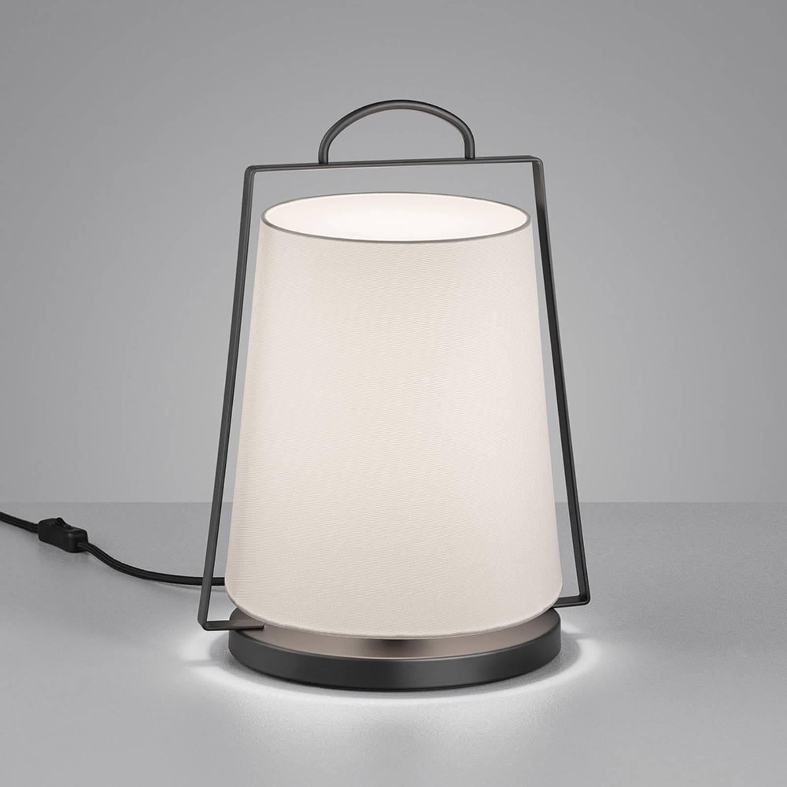 Helestra Uka lampe à poser abat-jour tissu blanc