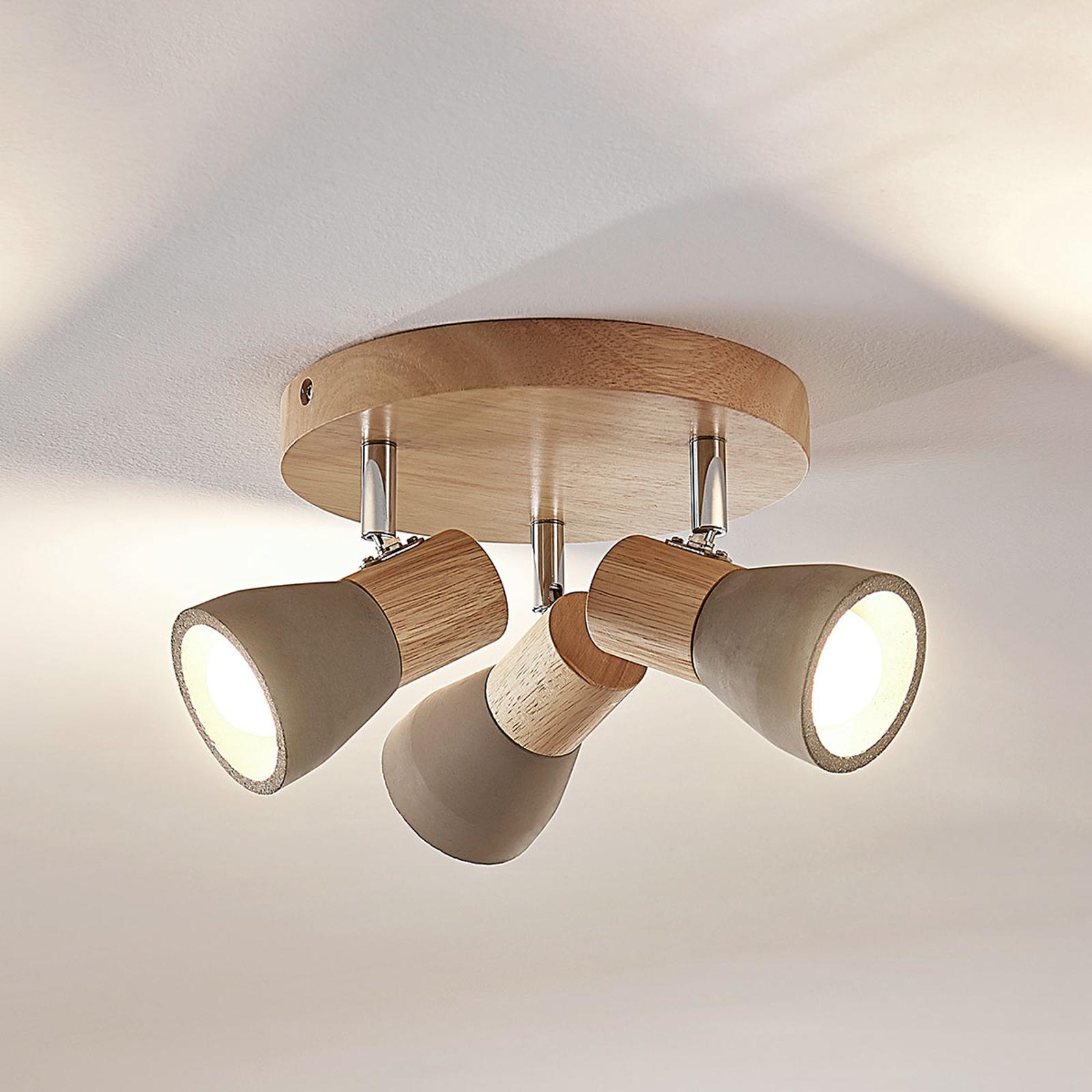 LED-Strahler Filiz aus Holz und Beton, 3-fl., rund