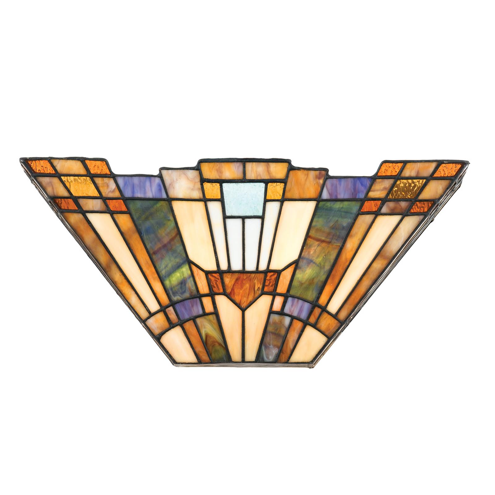 Inglenook væglampe, farverigt glas