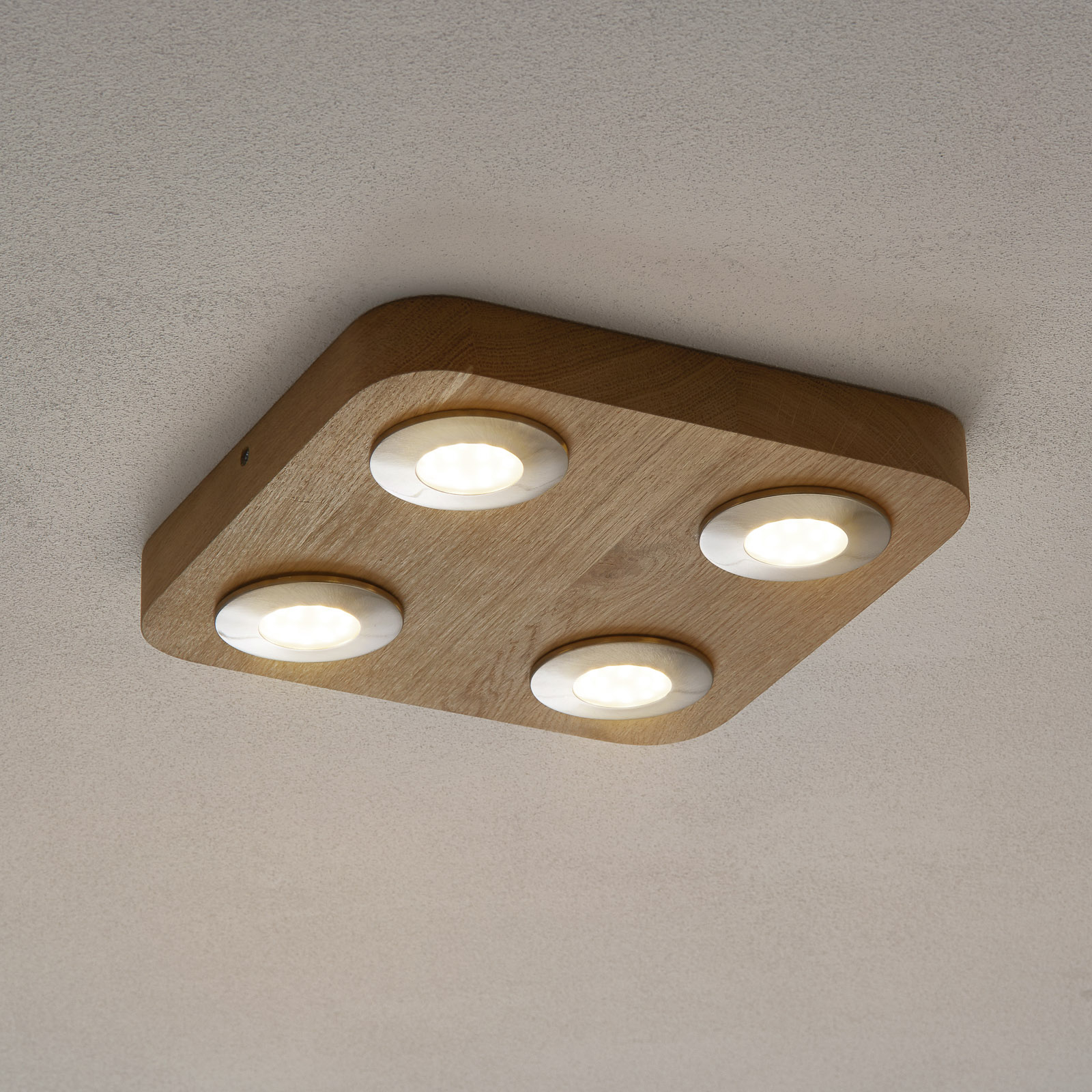 LED-taklampe Sunniva i eik, 4 lys